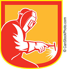 Welder Holding Welding Torch Shield Retro - Illustration of...