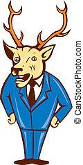 Stag Deer Hands on Hips Standing Cartoon