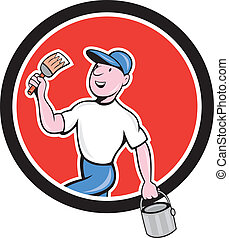 House Painter Holding Paintbrush Bucket Cartoon -...