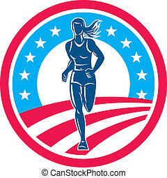 American Female Triathlete Marathon Runner Circle -...