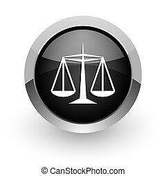justice, noir, chrome, lustré, toile, icône