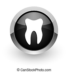 tooth black chrome glossy web icon