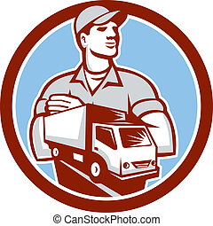 Removal Man Moving Delivery Van Circle Retro - Illustration...