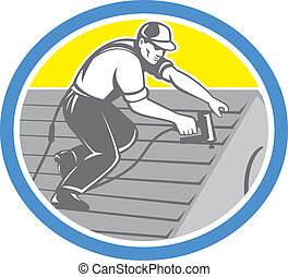Roofer Roofing Worker Circle Retro - Illustration of a...