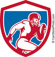 American Football Player Running Shield Retro - Illustration...