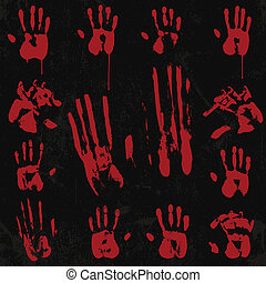 Bloody Hand Print Element Set 02 - Print & Stamp from real...