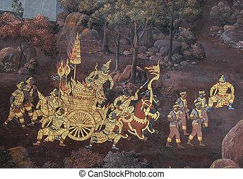 BANGKOK - JULY 27 : Thai Mural Painting in sanctuary Wat...