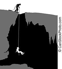 Cavers - Editable vector illustration of cavers exploring a...