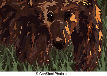 Grizzly - Editable vector illustration of a grizzly bear