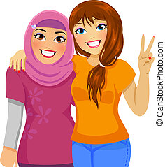 Muslim and Caucasian friends - Muslim girl and Caucasian...