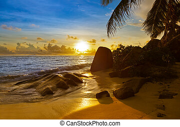 Sunset on beach Source D'Argent at Seychelles - Sunset on...