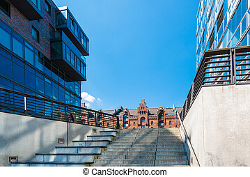 Hafencity in Hamburg - Old and new architecture in the...