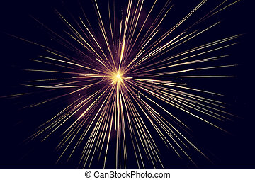 Lines of light rising from the middle of the fireworks.