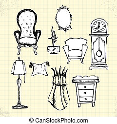 Doodle Antique Furniture on Paper