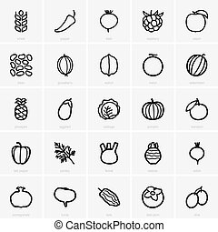 Fruits and vegetables icons - Set of Fruits and vegetables...