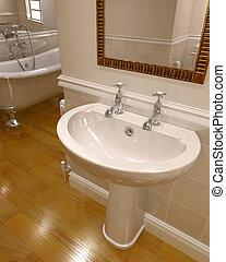 3D, render, contemporáneo, cuarto de baño