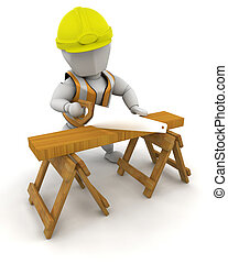 Construction Worker - 3D Render of a man sawing wood