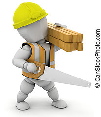 Construction Worker - 3D Render of a man carrying wood