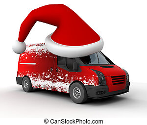 Christmas delivery van - 3D Render of a Christmas Delivery...