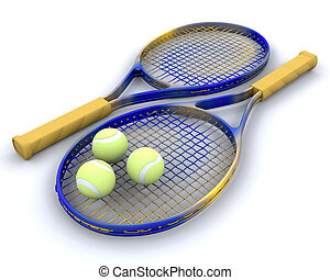 tennis raquet and balls - 3d render of tennis raquet and...