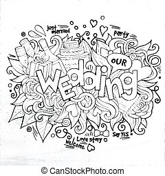 Wedding hand lettering and doodles elements sketch. Vector...