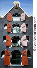 Amsterdam building, front facade of an old converted...