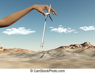 Hand placing wind turbines in a desert - 3D render of a...
