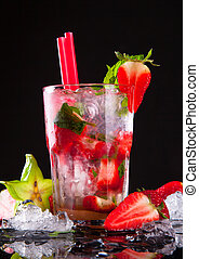Summer drink - Summer strawberry cocktail , drink with fresh...