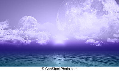 3D background with planets and sea - 3D background with...