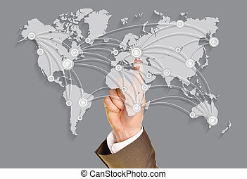 Business world, push on virtual world map
