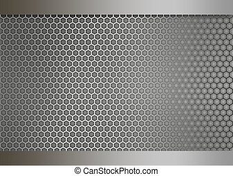 Metal texture honeycomb background grey brushed silver