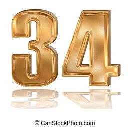 3d golden digit, 3, 4.