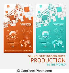 Oil infographic design - Oil infographic design with mosaic...