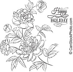 Beautiful illustration of peony flowers. - Beautiful hand...