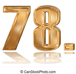 3d golden digit, 7, 8. - 3d golden patterned digit with...