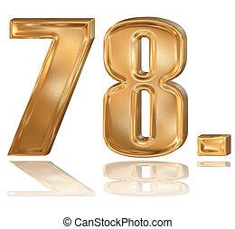 3d golden digit, 7, 8.