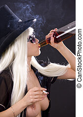 bad habits - picture of smoking girl with bottle of whiskey