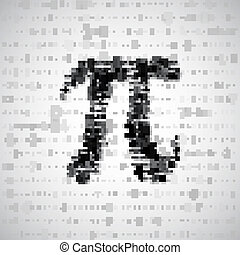 The mathematical constant Pi, many digits, illustration