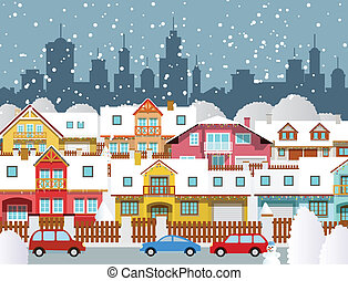 Winter in the city - Vector illustration of winter in the...