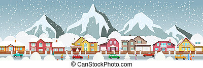 Small town in the Alps - Vector illustration of small town...