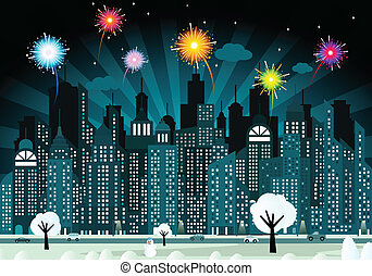 Night city and fireworks - Vector illustration of city in...