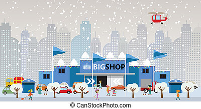 Shopping in the city Christmas - Vector illustration of...