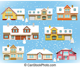 Snow covered city houses (Christmas - Vector illustration of...
