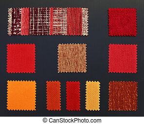 Multicolored furniture fabric samples