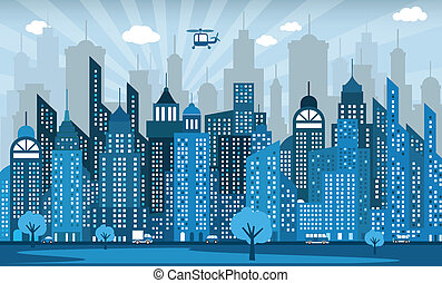 Blue city - Vector illustration of simple blue city viewy...