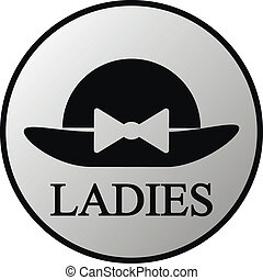 Female restroom symbol button in retro style Vector...