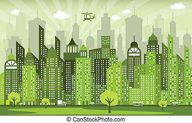 Green city - Vector illustration of simple modern green city