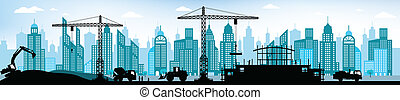 Making the new building in the city - Vector illustration -...
