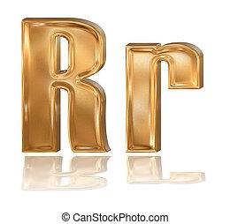 3d golden font, letter R - 3d golden patterned font with...