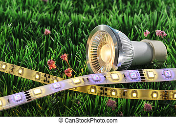 different LEDs-technologies on a lawn